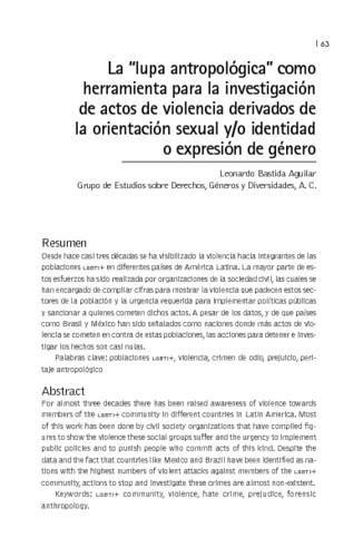 """La """"lupa antropológica"""" como herramienta para la investigación de actos de violencia derivados de la orientación sexual y/o identidad o expresión de género"""