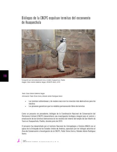 Biólogos de la CNCPC expulsan termitas del exconvento de Huaquechula