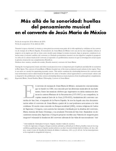 Más allá de la sonoridad: huellas del pensamiento musical en el convento de Jesús María de México