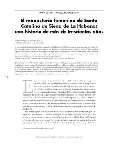 El monasterio femenino de Santa Catalina de Siena de La Habana: una historia de más de trescientos años