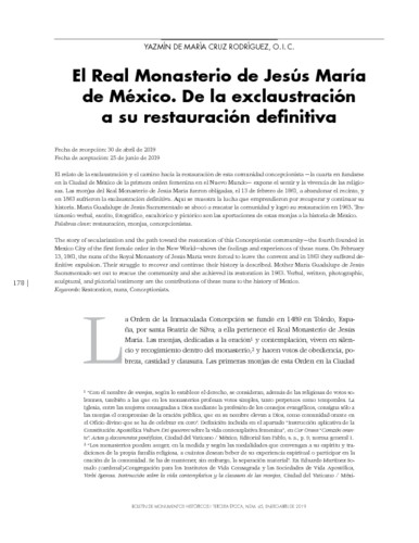 El Real Monasterio de Jesús María de México. De la exclaustración a su restauración definitiva