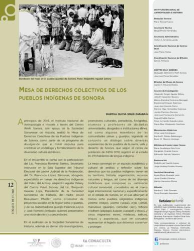 Mesa de derechos colectivos de los pueblos indígenas de Sonora