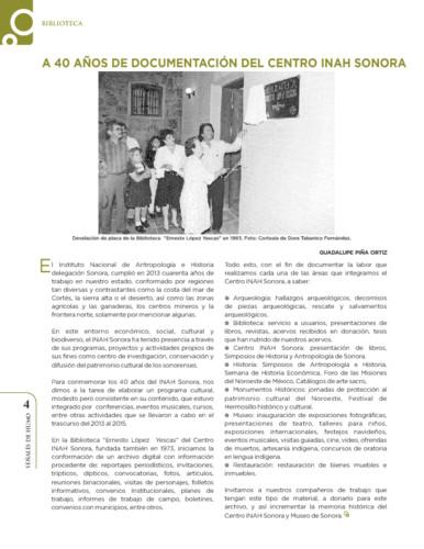 A 40 años de documentación del Centro INAH Sonora