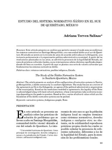 Estudio del sistema normativo ÑAÑHO en el sur de Querétaro