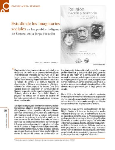 Estudio de los imaginarios sociales en los pueblos indígenas de Sonora en la larga duración