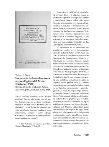 Eduard Seler, Inventario de las colecciones arqueológicas del Museo Nacional, 1907, Bertina Olmedo y Miruna Achim (ed. y est. prel.), México, INAH, 2018.