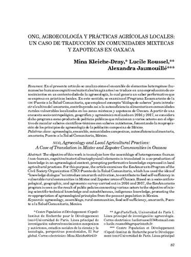 ONG, agroecología y prácticas agrícolas locales: un caso de traducción en comunidades mixtecas y zapotecas en Oaxaca