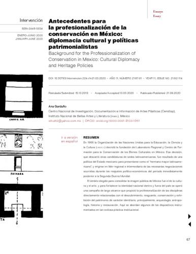 Antecedentes para la profesionalización de la conservación en México: diplomacia cultural y políticas patrimonialistas