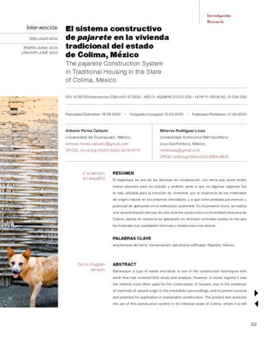 El sistema constructivo de pajarete en la vivienda tradicional del estado de Colima, México