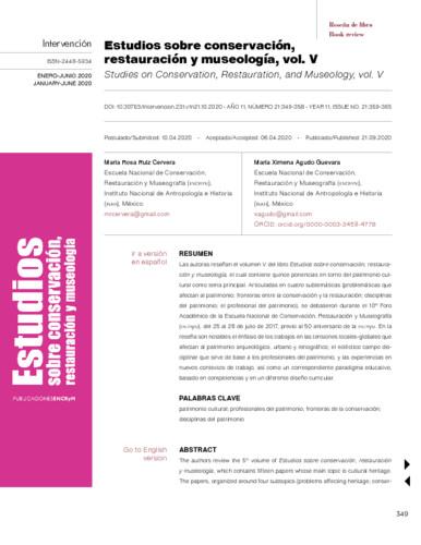 Estudios sobre conservación, restauración y museología, vol. V