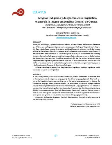 Lenguas indígenas y desplazamiento lingüístico: el caso de la lengua ombeayiüts (huave) de Oaxaca