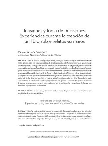 Tensiones y toma de decisiones Experiencias durante la creación de un libro sobre relatos yumanos