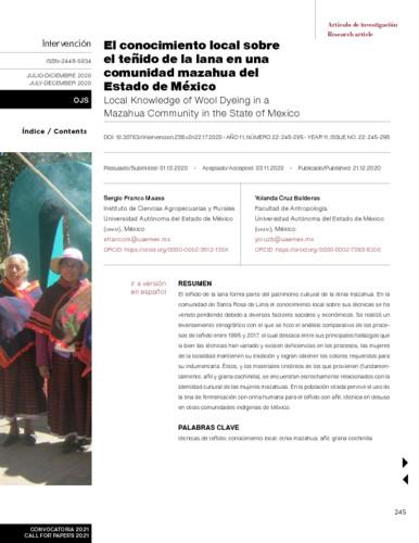 El conocimiento local sobre el teñido de la lana en una comunidad mazahua del Estado de México