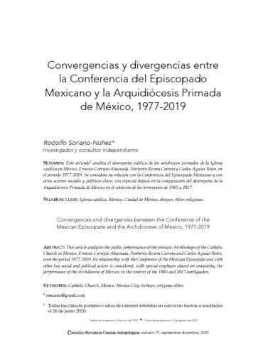Convergencias y divergencias entre la Conferencia del Episcopado Mexicano y la Arquidiócesis Primada de México, 1977-2019