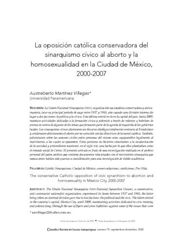 La oposición católica conservadora del sinarquismo cívico al aborto y la homosexualidad en la Ciudad de México, 2000-2007