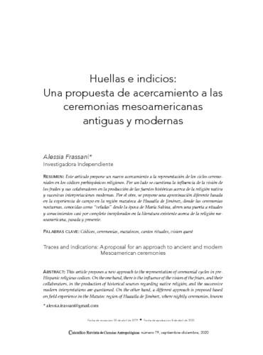Huellas e indicios: Una propuesta de acercamiento a las ceremonias mesoamericanas antiguas y modernas