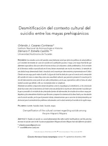 Desmitificación del contexto cultural del suicidio entre los mayas prehispánicos