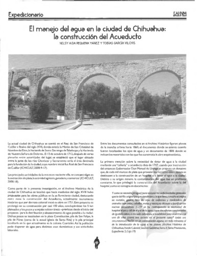 El manejo del agua en la ciudad de Chihuahua: la construcción  del Acueducto