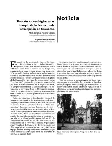 Rescate arqueológico en el templo de la Inmaculada Concepción de Coyoacán