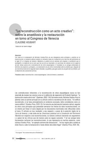 """""""La reconstrucción como un acto creativo"""": sobre la anastilosis y la restauración en torno al Congreso de Venecia"""