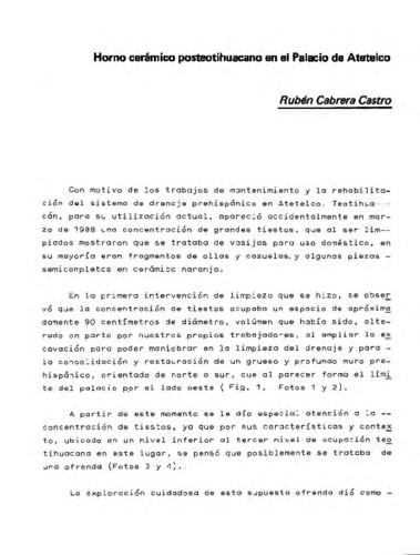 Horno cerámico posteotihuacano en el Palacio de Atetelco
