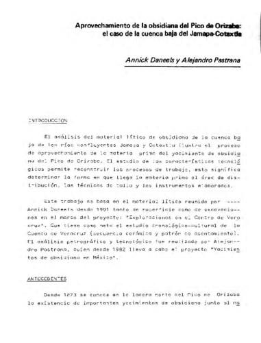 Aprovechamiento de la obsidiana del Pico de Orizaba: el caso de la cuenca baja del Jamapa-Cotaxtla