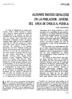 Algunos índices cefálicos en la población juvenil del área de Cholula, Puebla.