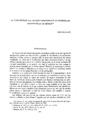 La variabilidad del agujero mentoniano en mandíbulas prehispánicas de México.