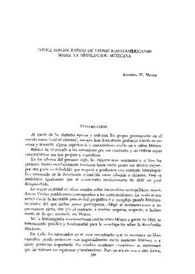 Índice bibliográfico de libros norteamericanos sobre la Revolución Mexicana.