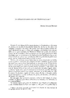 La osteopatología en los teotihuacanos.