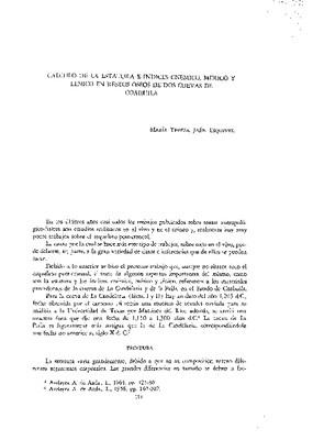Cálculo de la estatura e índices cnémico, mérico y lénico en restos óseos de dos cuevas de Coahuila.