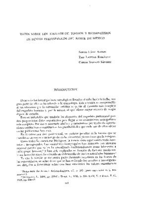 Datos sobre los ángulos de torsión y retroversión en restos prehispánicos del norte de México.