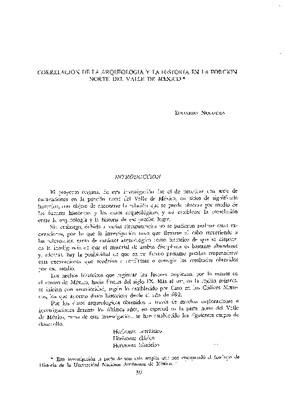Correlación de la arqueología y la historia en la porción norte del valle de México.