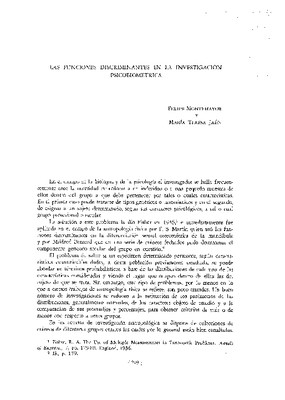 Las funciones discriminantes en la investigación psicobiométrica.