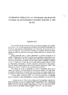 Información general de las actividades del Instituto Nacional de Antropología e Historia durante el año 1953.
