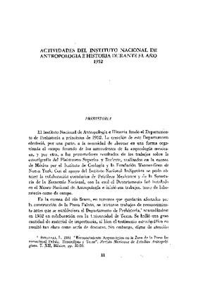 Actividades del Instituto Nacional de Antropología e Historia durante el año 1952.