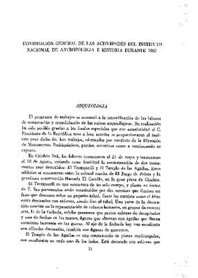 Información general de las actividades del Instituto Nacional de Antropología e Historia durante el año de 1951.