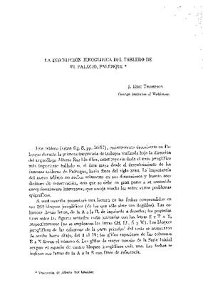 La inscripción jeroglífica del tablero de El Palacio, Palenque.