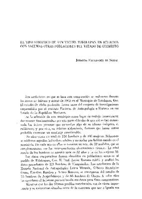 El tipo somático de San Miguel Totolapan en relación con algunas otras poblaciones del estado de Guerrero.
