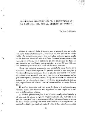 Descripción del esqueleto No. 3 encontrado en la Barranca del Águila, distrito de Tepeaca.