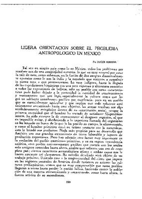 Ligera orientación sobre el problema antropológico en México.
