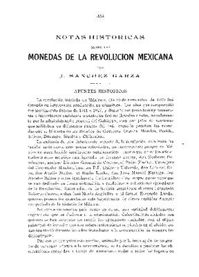 Notas históricas sobre las monedas de la Revolución Mexicana.