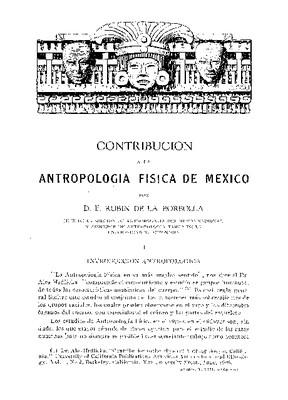 Contribución a la Antropología Física de México.