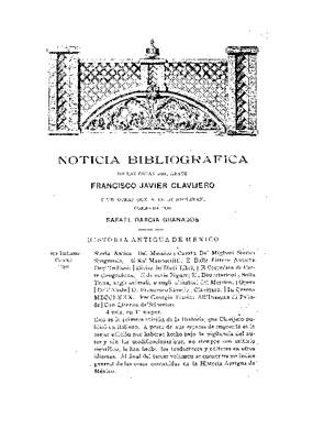 Noticia bibliográfica de las obras del abate Francisco Javier Clavijero y de otras que a él se refieren.