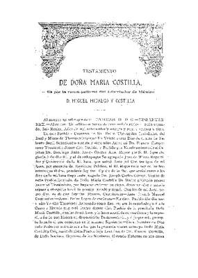 Testamento de doña María Costilla, tía por rama paterna del libertador de México don Miguel Hidalgo y Costilla.