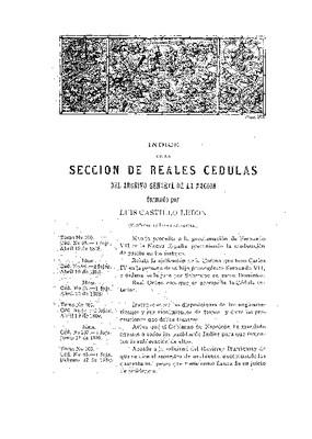 Índice de la sección de reales cédulas del Archivo General de la Nación (periodo de la Independencia).