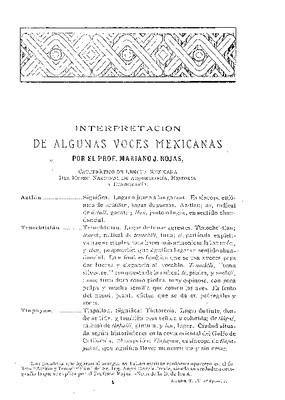 Interpretación de algunas voces mexicanas.