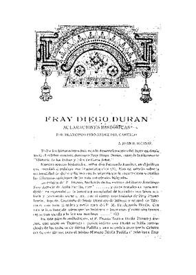 Fray Diego Durán. Aclaraciones históricas.
