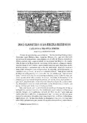 Índice craneométrico de los indígenas prehispánicos y actuales de la Mesa Central de México.