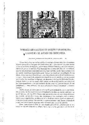 Nombres geográficos de origen tarahumara en el estado de Chihuahua.